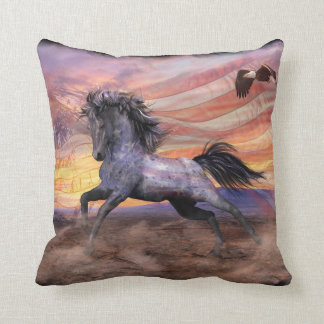 """Freedom"" Mustang Throw Pillow 16"" x 16"""