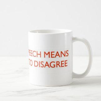 FREEDOM OF SPEECH MEANS.. COFFEE MUGS