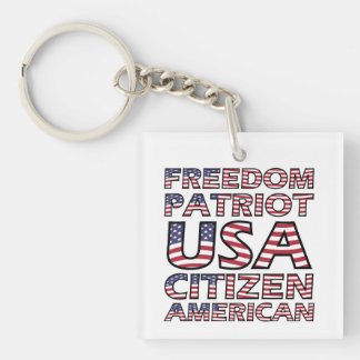 Freedom Patriot USA Flag Text Double-Sided Square Acrylic Key Ring