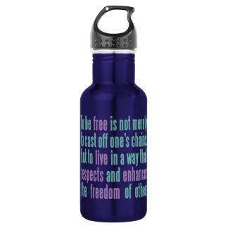 Freedom Quote custom monogram water bottle