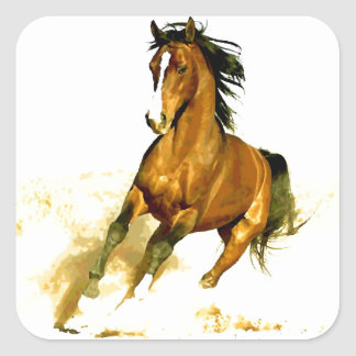 Freedom - Running Horse Square Stickers