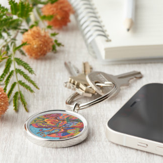 Freedom to Fly, original abstract Silver-Colored Round Key Ring