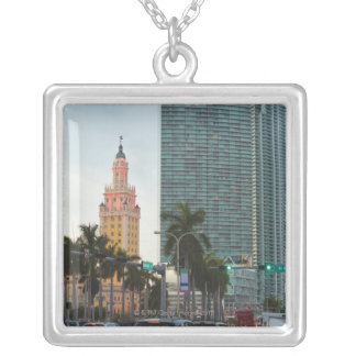 Freedom tower and highrise buildings silver plated necklace