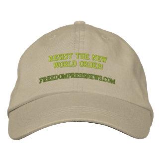 FREEDOMPRESSNEWS.COM, RESIST THE NEW WORLD ORDER! EMBROIDERED BASEBALL CAP