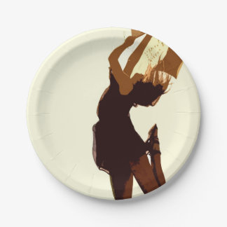 Freefalling Beautiful Digital Girl Dancer Free Paper Plate