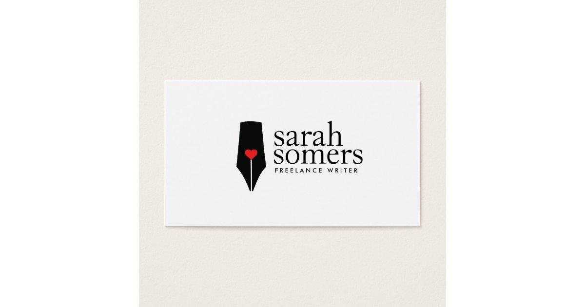 Freelance Writer and Novelist Calligraphy Pen Logo Business Card ...