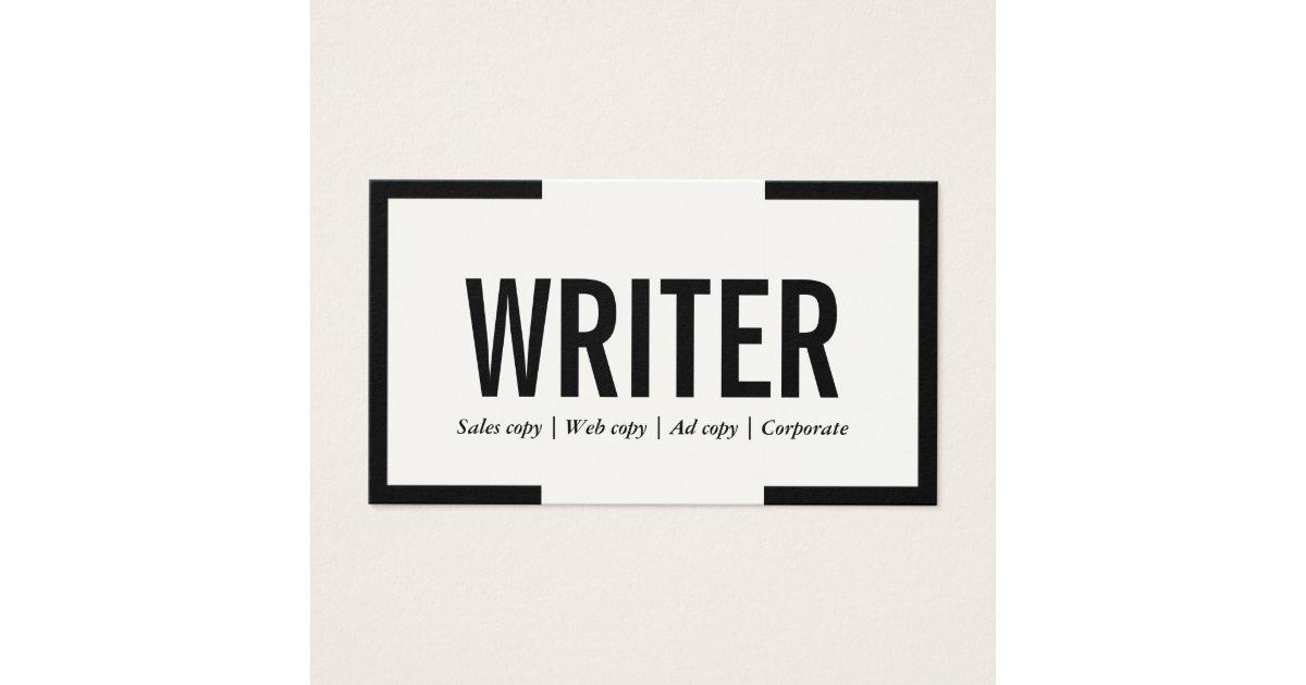 Freelance Writer Bold Text Black Border Business Card | Zazzle.co.uk