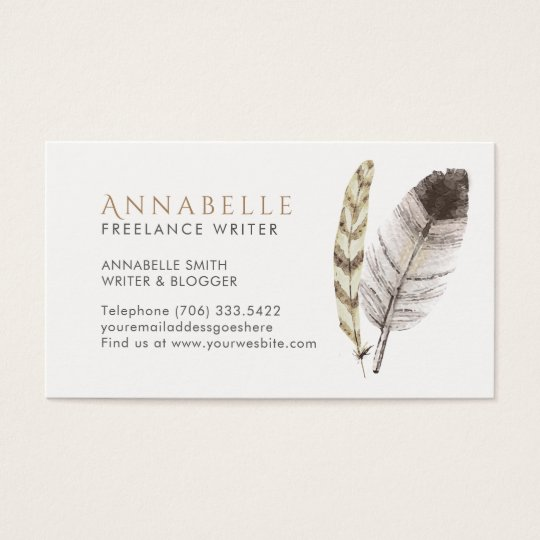 Freelance Writer Business Cards with Feathers