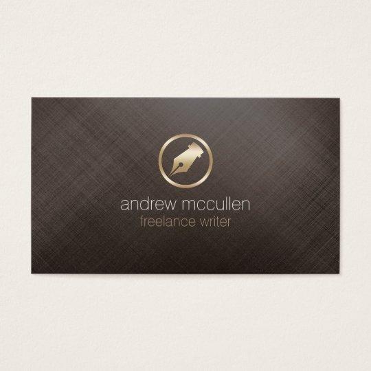 Freelance Writer Gold Pen NIb Icon Publishing Business Card