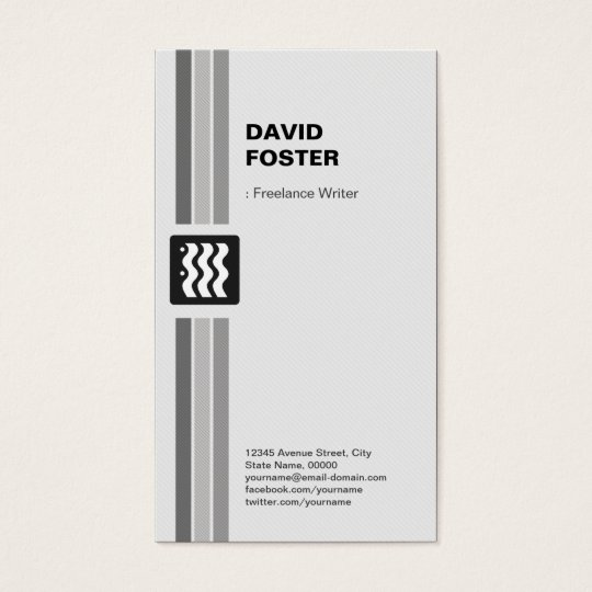 Freelance Writer - Modern Black White Business Card