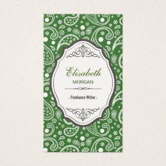 Freelance Writer - Retro Paisley Pattern Business Card