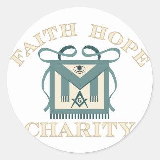 Freemason Apron Faith Hope Charity Round Sticker
