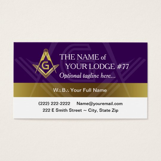 Freemason Business Card Template, Purple and Gold