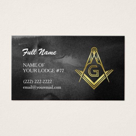 Freemason Business Cards | Black & Gold Watercolor