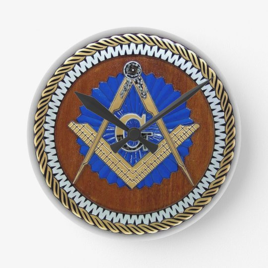 freemason NWO conspiracy square & compass Round Clock