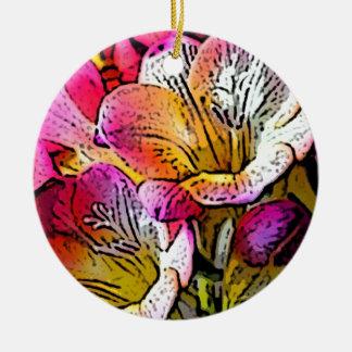 Freesia Flowers Round Ceramic Decoration