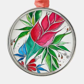 Freesia Silver-Colored Round Decoration