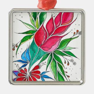 Freesia Silver-Colored Square Decoration