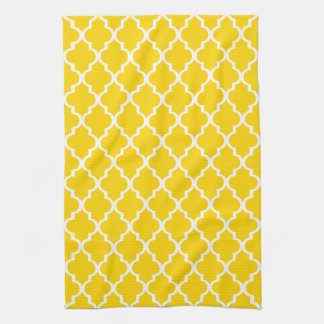 Freesia Yellow Quatrefoil Kitchen Towel