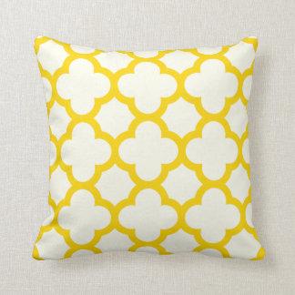 Freesia Yellow Quatrefoil Throw Pillow