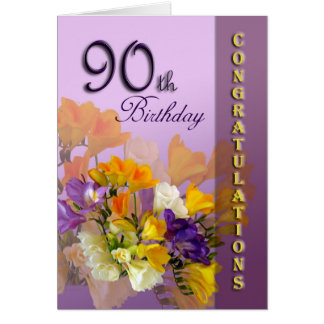 Freesias 90th Birthday Congratulations Card