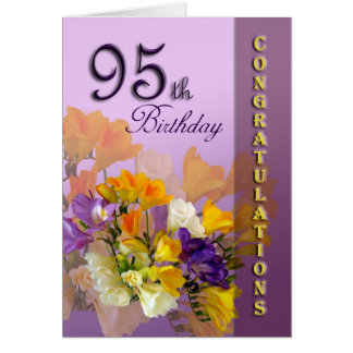 Freesias 95th Birthday CongratulationGreeting Card