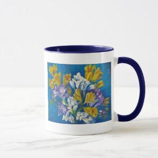 Freesias ceramic mug with blue handle