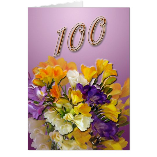 Freesias Happy 100th Birthday Greeting Card