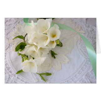 freesias on lace greeting card