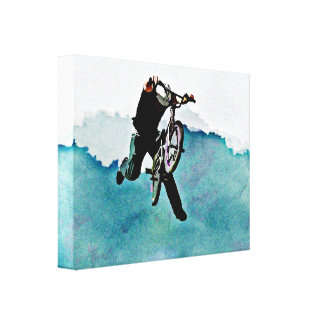 Freestyle BMX Bicycle Stunt Gallery Wrapped Canvas
