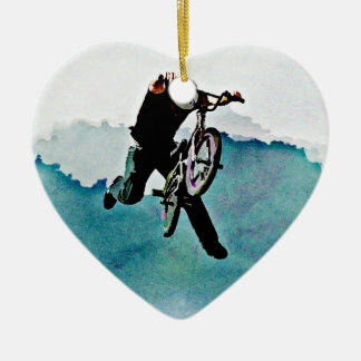 Freestyle BMX Bicycle Stunt Ceramic Heart Decoration