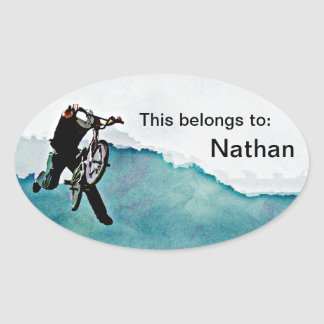 Freestyle BMX Bicycle Stunt Oval Sticker