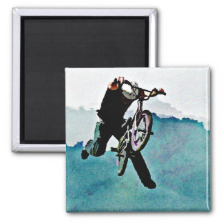 Freestyle BMX Bicycle Stunt Square Magnet
