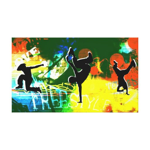 Freestyle Break Dance Graffiti Canvas Stretched Canvas Print
