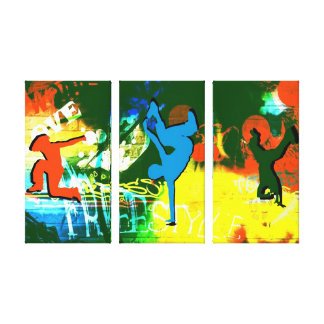 Freestyle Break Dance Graffiti Canvas 3 Panel Stretched Canvas Print