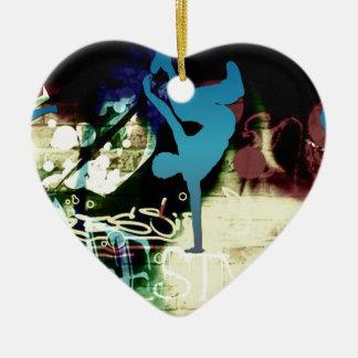 Freestyle Break Dance Graffiti Ceramic Heart Decoration