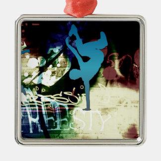 Freestyle Break Dance Graffiti Square Metal Christmas Ornament