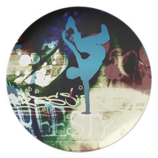 Freestyle Break Dance Graffiti Plate