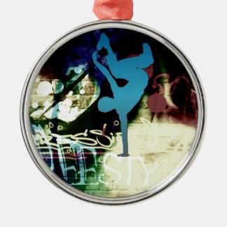 Freestyle Break Dance Graffiti Silver-Colored Round Decoration