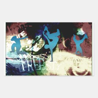 Freestyle Break Dance Graffiti Rectangular Sticker