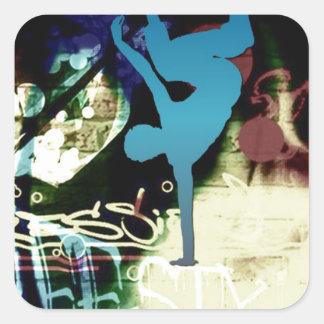 Freestyle Break Dance Graffiti Square Sticker