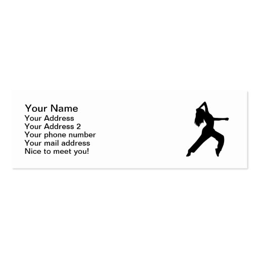 Freestyle dancing girl business card