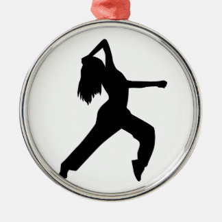 Freestyle dancing girl round metal christmas ornament