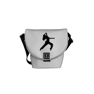 Freestyle dancing girl messenger bags