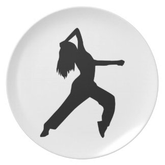 Freestyle dancing girl dinner plate