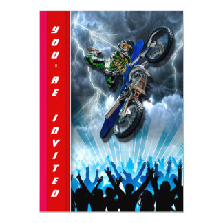Freestyle Motocross rider flying over the crowd 13 Cm X 18 Cm Invitation Card