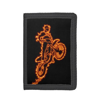Freestyle motocross rider in flames tri-fold wallets