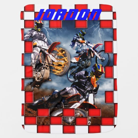Freestyle motocross with chequered flags baby blanket