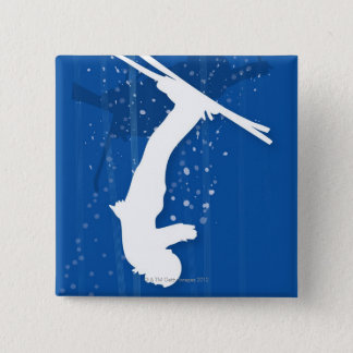Freestyle Skier 15 Cm Square Badge