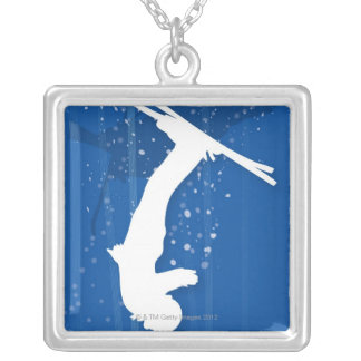 Freestyle Skier Silver Plated Necklace